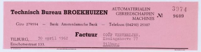 """059769 - Briefhoofd. Nota van Technisch Bureau Broekhuizen"""", automaterialen, Enschotsestraat 133, voor """"De Koningshoeven N.V."""" Textielververijen"""
