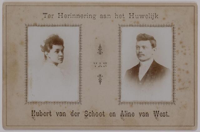 040183 - Foto ter gelegenheid van het huwelijk van Hubert van der Schoot en Aline van West