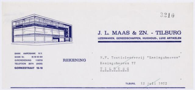 060631 - Briefhoofd. Nota van J.L. Maas & Zn. - Tilburg, Ijzerwaren,gereedschappen, huishoud-, luxe artikelen, Goirkestraat 16-18, voor Textielververijen de Koningshoeven N,V,m Koningshoeven 77