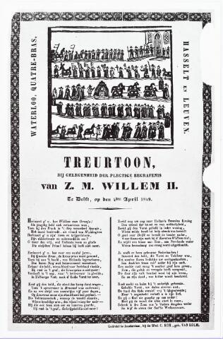 """008427 - Prent met de tekst van een """"Treurtoon bij gelegenheid der plegtige begrafenis van Z.M. WILLEM II, te Delft, op den 4den April 1849"""" ."""