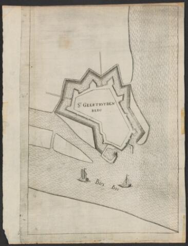 651004 - Plattegrond van de vesting Geertruidenberg. St Geertruidenberg en Bies Bos op de prent. 18e eeuw. Kopergravure. Vrijwel identiek aan inv. nr. 26. Vanouds aanwezig.