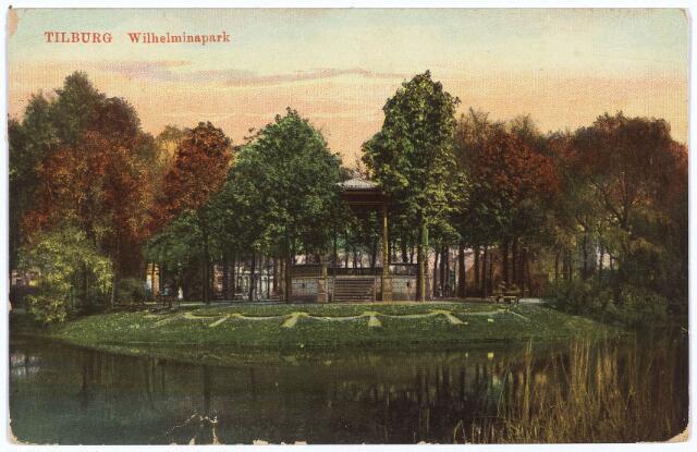002893 - Wilhelminapark vijver met muziekkiosk.