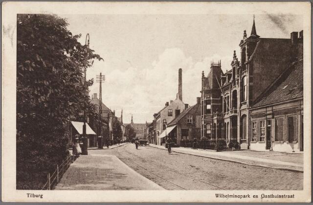 011041 - Westzijde van het Wilhelminapark richting Gasthuisstraat. Geheel rechts de panden Wilhelminapark 34 (rechts) en 35 (links), twee woonhuizen onder één kap gebouwd omstreeks 1843 en in 1905. Het pand nr. 34, voor 1910 pand N168, werd circa 1843 gebouwd in opdracht van landbouwer en voerman Johannes Hendrik van Roessel (1802-1874). Dit pand kreeg in 1911 een verdieping op de achterbouw. Toen woonde er koopman Arnoldus F.J. Schijns, geboren te Verviers op 26 december 1854, met zijn kinderen. Later woonden er zijn dochters Antoinetta M.J. Schijns, geboren op 21 april 1894 en Maria P.L.J. Schijns, geboren op 21 juni 1896. De familie Schijns bewoonde dit pand tot 1977.  Op het erf van het pand bevindt zich nog een schuur, daterend uit het midden van de 19e eeuw. Voor het pand werd omstreeks 1928 een hek geplaatst, ontworpen door architect F.C. de Beer. Later is aan de linkerzijde van pand 34 een stuk aangebouwd. Dit is het woonhuis nr. 35. Rond 1920 woonde hier Johannes Cornelis Bouwmeester, geboren te Zevenbergen op 21 december 1887 en getrouwd met Maria H.C. de Pont. Bouwmeester was commies ter secretarie. Hij verhuisde in 1924 naar de Bredaseweg. In de periode 1924-1934 werd het pand bewoond door Adrianus Cornelis de Bruijn, geboren te Utrecht op 29 mei 1895 en getrouwd met Felicia M.J. de Wit. Hij was te Tilburg commissaris van politie. De volgende bewoner was, vanaf 1935, de hoofdagent van politie Theodorus Raaphorst, geboren te Voorhout op 16 maart 1885. Zijn weduwe, Cornelia W. Heuzen, verliet het pand in 1956.