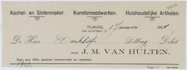 060339 - Briefhoofd. Nota van J.M. van Hulten, Kachel- en Slotenmaker, van Gilsstraat 17 voor de heer Danklof te Tilburg