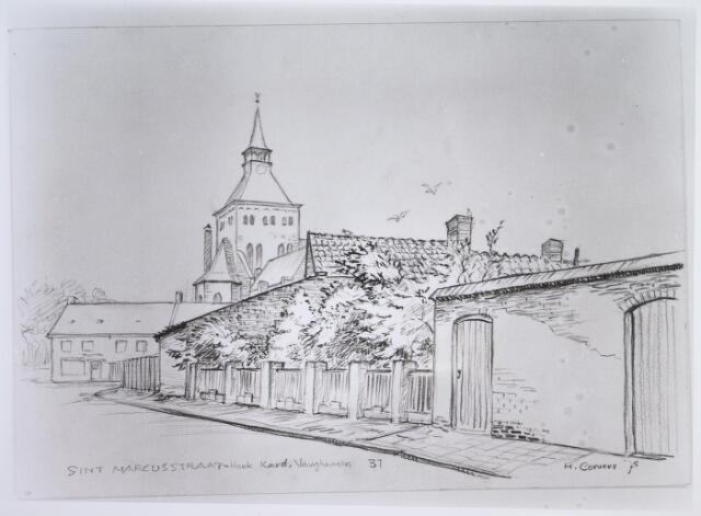 026305 - Tekening. Tekening van H. Corvers van de St. Marcusstraat, hoek Kardinaal Vaughanstraat