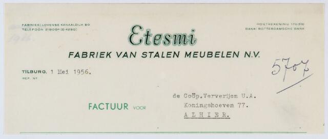 060069 - Briefhoofd. Nota van Etesmi fabriek van stalen meubelen N.V.voor Coöp. Ververijen U.A., Koningshoeven 77