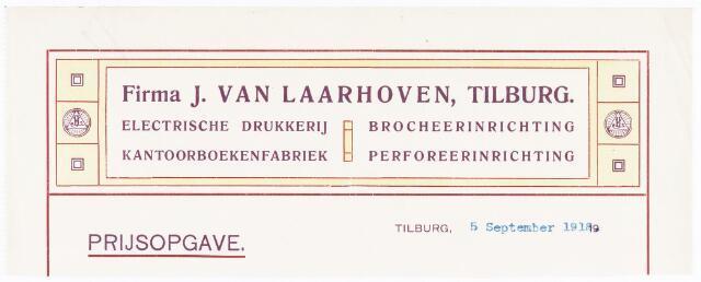 060537 - Briefhoofd. Briefhoofd van J van Laarhoven, Electrische drukkerij, kantoorboekenfabriek, boekdinderij en papierhandel, Wilhelminapark 7
