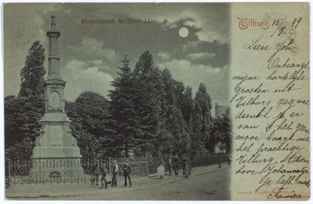 002522 - Gedenknaald voor koning Willem II op hoek Monumentstraat en de Paleisstraat.