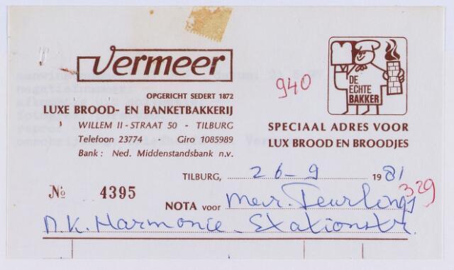061317 - Briefhoofd. Nota van Vermeer luxe brood- en banketbakkerij, Willem-II-straat 50 voor Nk Harmonie, Stationsstraat