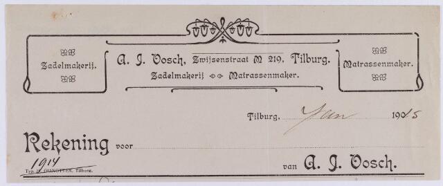 061374 - Briefhoofd. Briefhoofd van A.J. Vosch, Zwijsenstraat M 219, Zadelmakerij