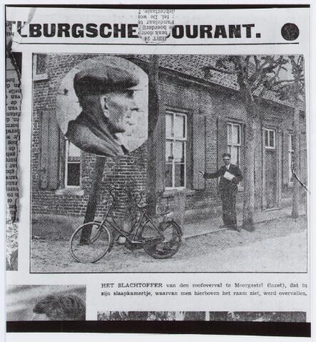 057078 - Kees van de Pol, woonachtig in de Poselstraat te Moergestel in het pand da voorheen bewoond werd door burgemeester  van Heeswijk, werd in de nacht van 22 en 23 augustus 1934 slachtoffer van een brutale roofoverval.