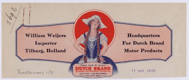 061422 - Briefhoofd. Briefhoofd van William Weijers, Importeur, Bredaseweg 189