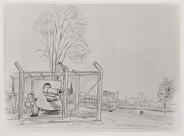 012452 - Tekening. Tweede Wereldoorlog. Tekening van H. Corvers van een Duits kanon, waarschijnlijk op het terrein van de firma Gebroeders van Raak aan de Piushaven