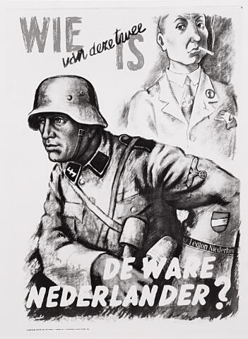 012940 - Tweede Wereldoorlog. Affiches. Een van de taktieken van de Duitse propagandamachine was werken op het geweten van personen. Ongeveer 20.000 Nederlanders voelden zich aangesproken en meldden zich aan als vrijwilliger. Het eerste contingent van dit Vrijwilligerslegioen-Nederland vertrok op 26 juli 1941 naar het Oostfront
