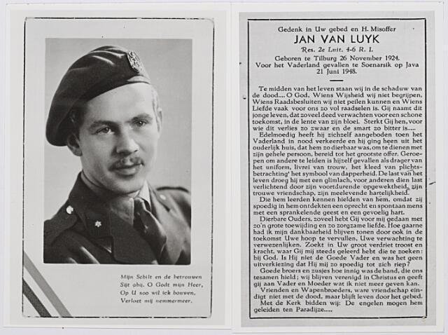 012917 - Tweede Wereldoorlog. Nederlands-Indië. Jan van Luyk, geboren te Tilburg op 26 november 1924 en op 21 juni 1948 als reserve tweede luitenant gesneuveld te Soenarsik op Java. Hij had zich vrijwillig aangemeld