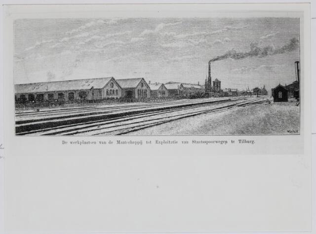 036923 - Spoorwegen, Centrale Werkplaats, Atelier, NS: De zogeheten ateliers of werkplaatsen van de Staatsspoorwegen te Tilburg op een ets uit 1887.