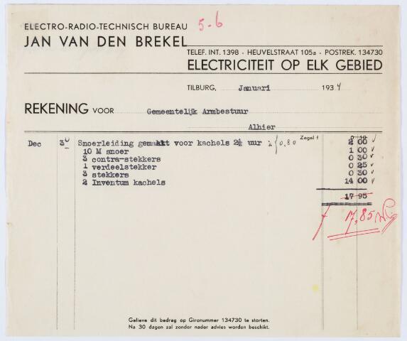 059724 - Briefhoofd. Nota van Electro-Radio-Technisch Bureau Jan van den Brekel, Heuvelstraat 105a voor gemeentelijk Armbestuur