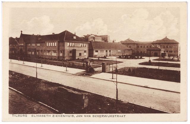 001309 - Elisabethziekenhuis. Gezondheidszorg. Ziekenhuizen. St. Elisabethziekenhuis , zijkant van de voorgevel Jan van Beverwijckstraat.