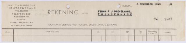 061237 - Briefhoofd. Nota van N.V. Tilburgsche Houtcentrale voor Firma F.J. Brekelmans te Princenhage