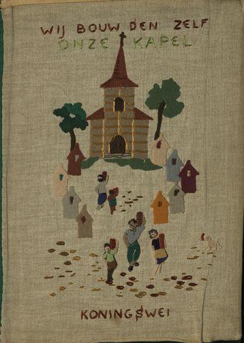 """1608_002_ - Plakboek """"Wij bouwden zelf onze kapel"""", 1953-1957 Foto's, knipsels en verslagen , rondom de bouw van de kapel (1953) en latere vieringen."""