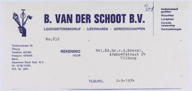 061052 - Brief.Nota van B. van der Schoot B.V., loodgietersbedrijf, Telefoonstraat 35 voor v.d. Brekel, Armhoefstraat 24 te Tilburg