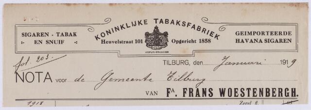 061438 - Briefhoofd. Tabaksindustrie. Nota van Fa. Frans Woestenbergh, koninklijke tabaksfabriek, Heuvelstraat 101 voor de gemeente Tilburg.