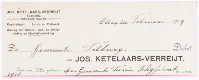 060474 - Briefhoofd. Nota van Jos. Ketelaars-Verreijt, koperslager, Beeksche Dijk 22 voor de gemeente Tilburg.