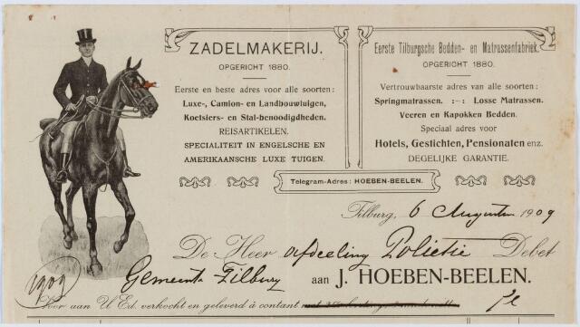 060291 - Briefhoofd. Nota van Zadelmakerij J. Hoeben-Beelen, Heuvelstraat 39 voor de gemeente Tilburg
