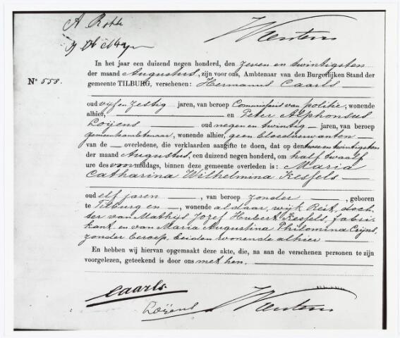 007167 - Overlijdensregister, 1900. Aangifte van overlijden van Marietje Kessels 22 augustus 1900.