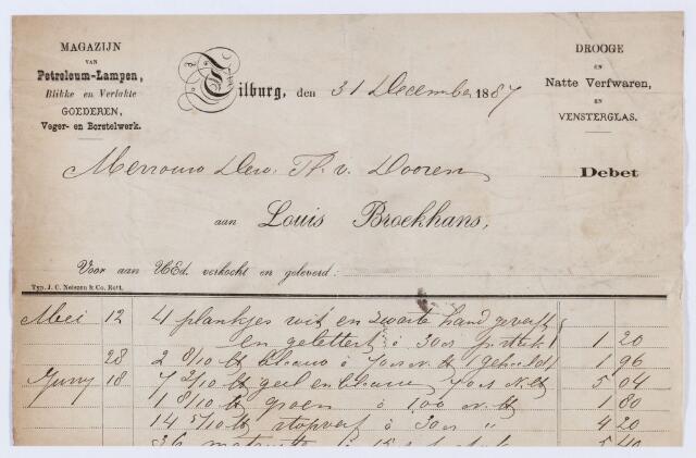 059764 - Briefhoofd. Nota van Louis Broekhans, magazijn van Petroleum-lampen, Blikke en Verlakte Goederen, Veger- en Borstelwerk, voor Th. van Dooren
