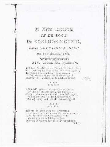 """008453 - In 1788 werd de publicist en patriot Adriaan van der WILLIGEN (1766-1841) lid van de vrijmetselaarsloge """"De Edelmoedigheid"""" in Den Bosch. Hier is afgedrukt de eerste bladzijde van een te zingen tekst die van der Willigen schreef """"By Myne Receptie in de Loge De Edelmoedigheid binnen 's-Hertogenbosch""""."""