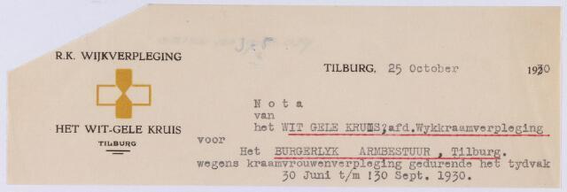 061436 - Briefhoofd. Nota van Het Wit-Gele Kruis, afdeling Wijkkraamverpleging voor het Burgerlijk Armbestuur van Tilburg