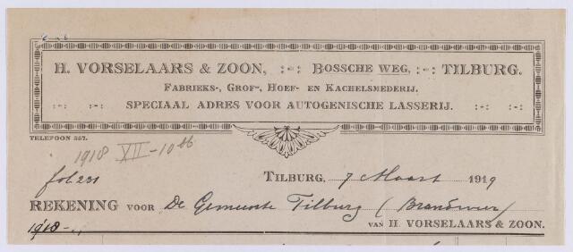 061369 - Briefhoofd. Nota van H. Vorselaars & Zoon, Bosscheweg voor de gemeente Tilburg
