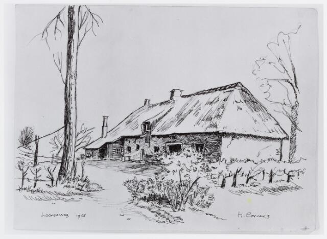 056785 - Tekening. Tekening door H. Corvers van een boerderij aan de Loonseweg