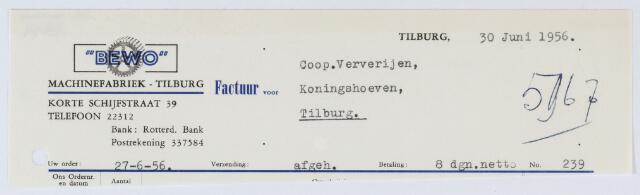 """059628 - Briefhoofd. Nota van """" BEWO """" Machinefabriek-Tilburg, Korte Schijfstraat 39, voor Coop. Ververijen, Koningshoeven."""