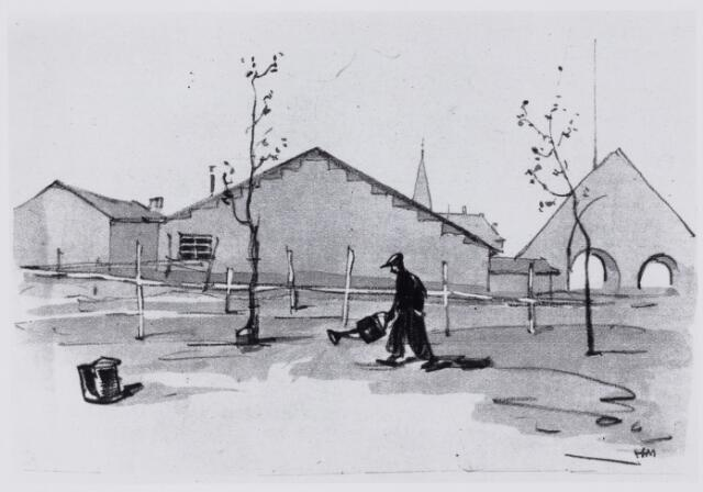 103890 - Tentoonstelling. Serie tekeningen van Herman Moerkerk (1879-1949)  over de tentoonstelling Stad Tilburg 1934 gehouden van 28 juni tot 31 juli 1934.