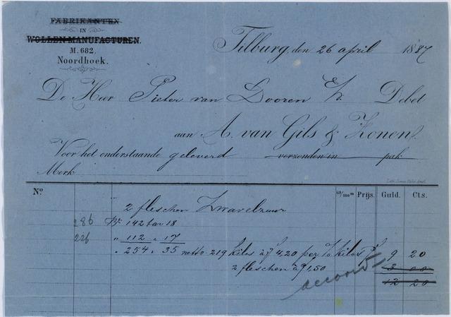 060159 - Briefhoofd. Nota van A. van Gils & Zonen, handel in Chemische producten, voor Pieter van Dooren