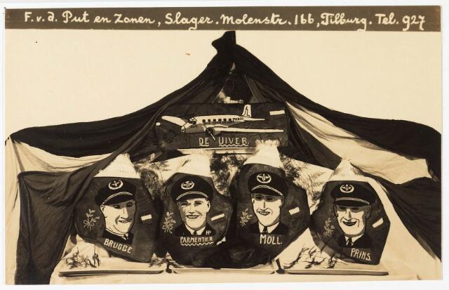 033872 - Tekening. Een tekening van de crew van de Uiver uitgegeven door slagerij F van de Put en zonen aan de Molenstraat 166, thans Veldhovenring.