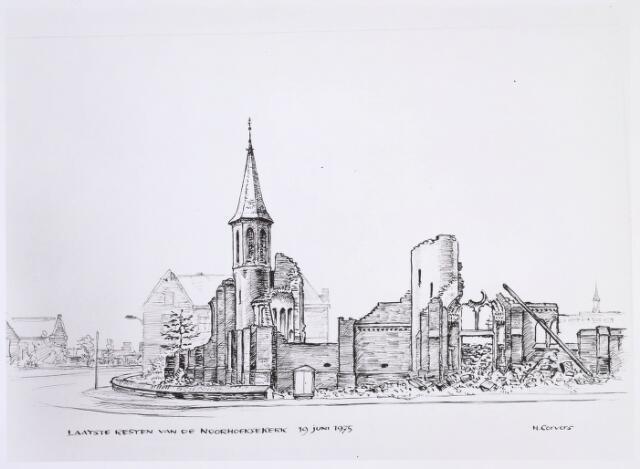 020110 - Tekening. Tekening van H. Corvers van de sloop van de Noordhoekse kerk