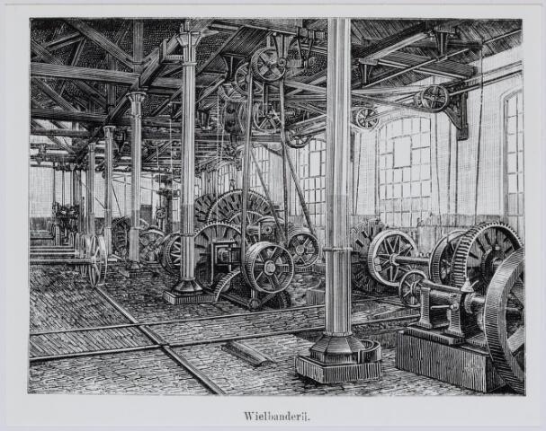 036925 - Spoorwegen, Centrale Werkplaats, Atelier, NS: In 1887 was een journalist H.N. Neideck op bezoek in de werkplaats. Bij zijn artikel werden enkele tekeningen geplaatst gemaakt door A.C.Verhees. Hier de wieldraaierij.