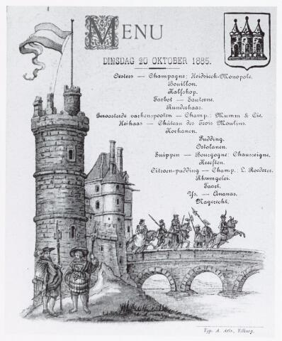 053039 - Menu voor een diner te Tilburg op 20 oktober 1885 , gedrukt door typ. A. Arts,Tilburg.