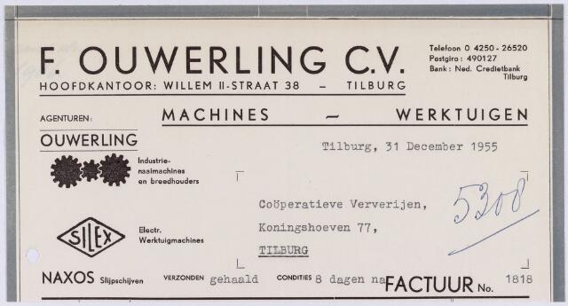 060872 - Briefhoofd. Nota van F. Ouwerling C.V., machines - werktuigen, Willem II-straat 38 voor Coöperatieve Ververijen Koningshoeven 77