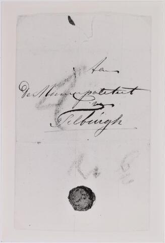 041657 - Postbrieven. Envelop van een brief uit Voorburg aan de Municipaliteit van Tilburg.