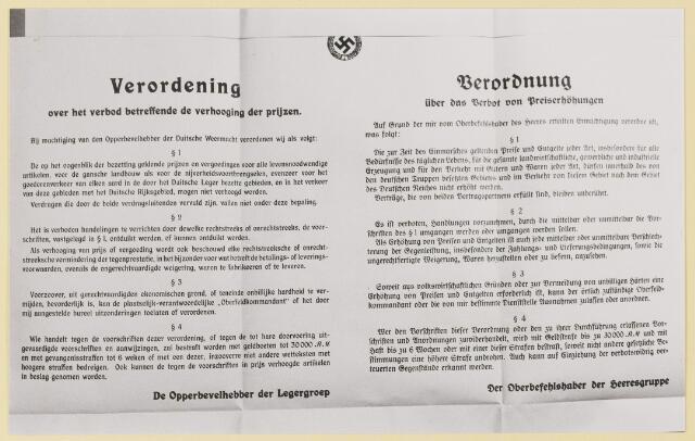 077397 - Tweede wereldoorlog 1940-1945 Verordening van de Duitse bezetter met vertaling