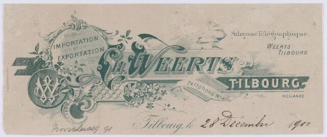061406 - Briefhoofd. Briefhoofd van Importation et Exportation H. Weerts, Bosscheweg 91