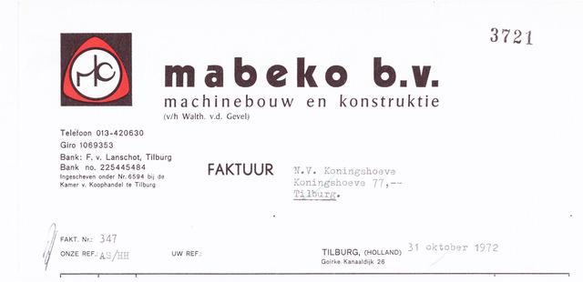 060632 - Briefhoofd. Nota van Mabeko B.V., machinebouw en konstruktie, Goirke, Kanaaldijk 26 voor N.V. Koningshoeven, Koningshoeven 77