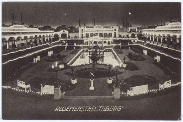 003320 - De feëerieke elektrische verlichting van de Bloemenstad op de Internationale Tentoonstelling van Nijverheid, Handel en Kunst te Tilburg. De verlichting werd aangelegd door de Tilburgse firma W. van Boxtel & Zonen.