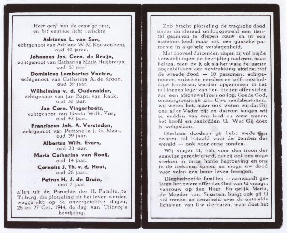 012668 - Tweede Wereldoorlog. Slachtoffers. Op 26 en 27 oktober 1944 werd er in de omgeving van de wijk Broekhoven fel gevochten. Daarbij kwamen talloze wijkbewoners om het leven, waaronder deze tien tien personen