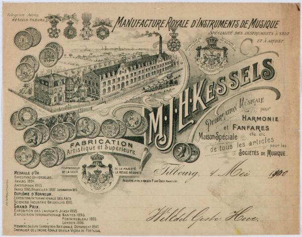060443 - Briefhoofd. Briefhoofd van M.J.H. Kessels, Artistieke fabrikatie van koperen en houten blaasinstrumenten, strijkinstrumenten enz. enz.