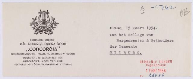"""061471 - Briefhoofd. Verenigingen. Briefhoofd van het koninklijk erkende R.K. Tilburgs opera koor """"Concordia"""", Doornbossestraat 2"""